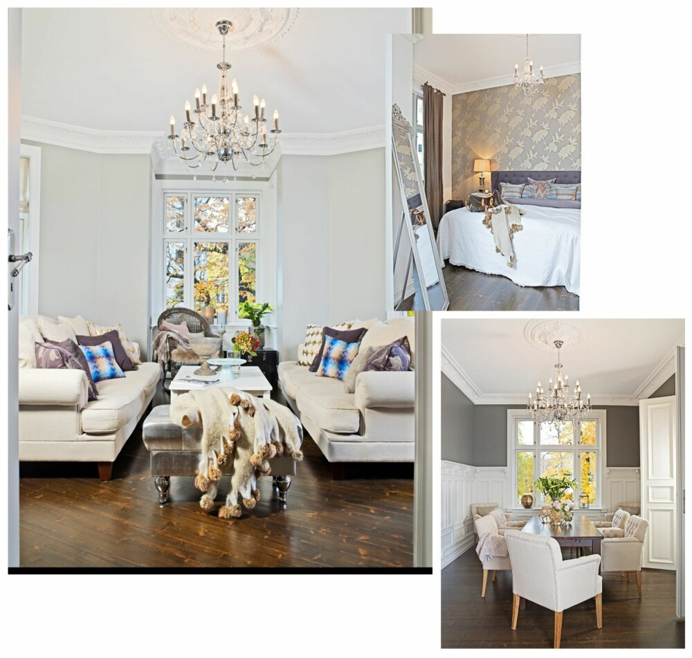 ROM PÅ ROM: Romløsningen i den gamle leiligheten er klassisk. Stuene ligger på rekke og rad med doble dører mellom hvert rom. Det skaper et herskapelig preg og gir både dybdevirkning og dynamikk.