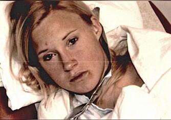 VOLDTATT: Monika rett etter voldtekten, bildet er tatt av politiet i USA. Det var Monika selv som ringte til storesøster Anette med den sjokkartede beskjeden.