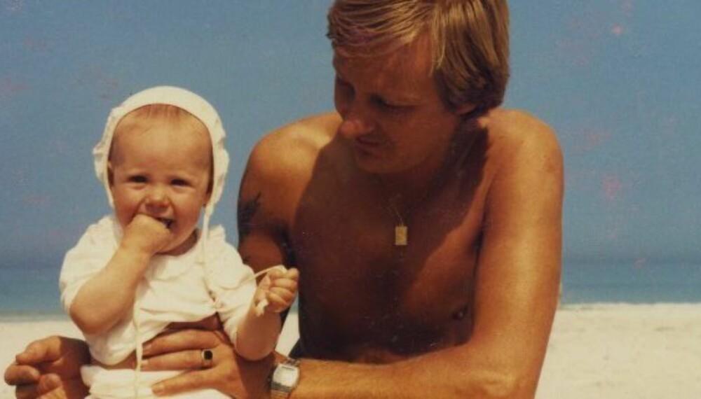 BRA MANN: Pappaen til Ane Barmen var ein av dei fyrste i heimbygda som gjorde tradisjonelle «mammaoppgåver», som å fylgje barn til legekontroll. Her er Ane og pappaen sommaren 1985.