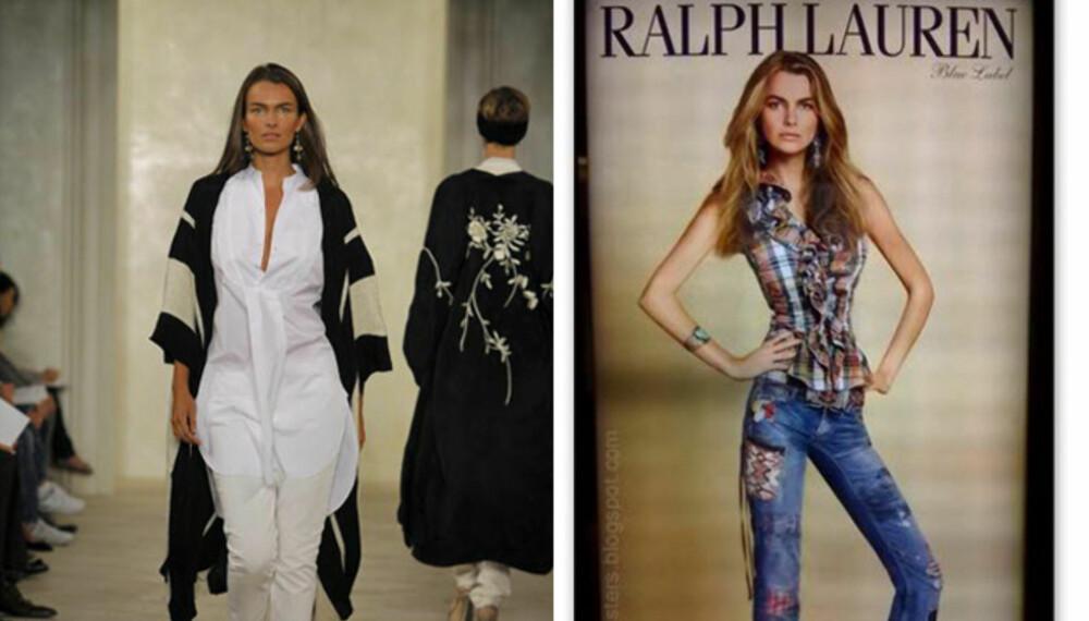 PHOTOSHOP OG SPISEFORSTYRRELSER: Modellen Filippa Hamilton endte opp med en midje tynnere enn sitt eget hode i reklamen til høyre. Til venstre er hun avbildet på catwalken i New York.