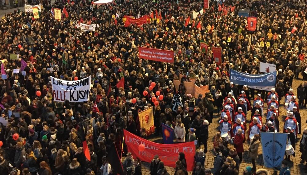 KVINNEDAGEN LEVER FREMDELES: Oppmøtet på Youngstorget i Oslo tyder i alle fall på at det fremdeles er et behov i 2016.