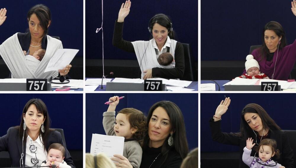 TA MED BARNA PÅ JOBB: Licia Ronzulli med datteren Vittoria i Europarlamentet.