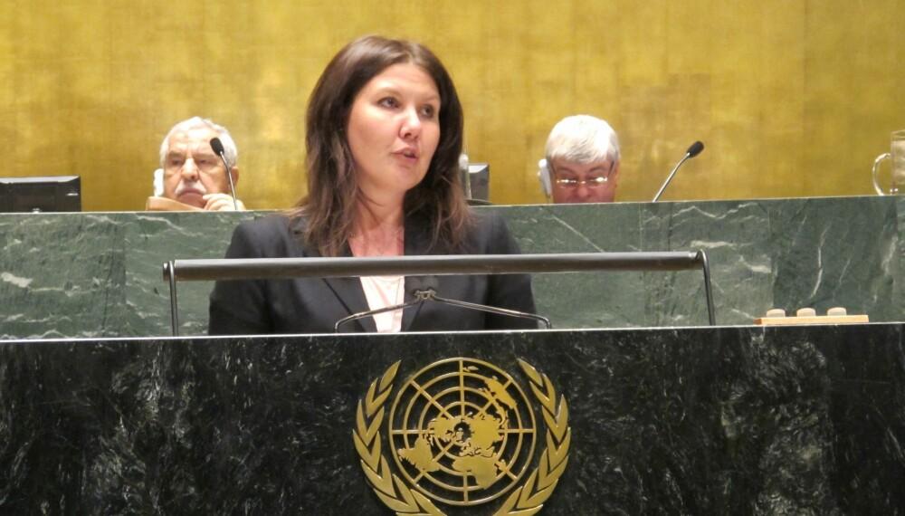 FNs utviklingsmål nummer 5 er å oppnå likestilling mellom kjønnene. Organisasjonen selv har kun hatt mannlige generalsekretærer. Det er det på tide å gjøre noe med, mener Gry Larsen.