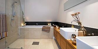 VÅTSONEN INNERST: Dusj og badekar plasseres innerst i rommet. Da blir det ikke vått for de som er på badet bare for å pusse tenner. Dette badet er tegnet av Margrethe Rosenlund/Morfeus Arkitekter AS.
