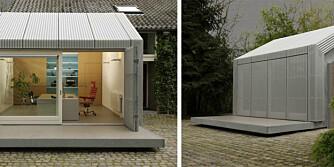 SMART LØSNING: Arkitektene gjorde garasjen om til et stilig hjemmekontor.
