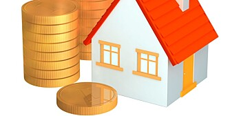 Conceptual 3d house and columns of gold coins. Objects over white