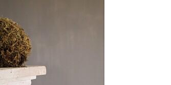 Veggen får en fin betonglook med kalkmaling, her er det brukt Pure & Original Fresco.