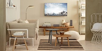 MALERIVIRKNING. Her fremstår tv-en fra LG som et maleri i rommet, du kan kjøpe tv-kunst flere steder på nettet. Veggen er malt med Kalk fra Lady Pure Color.