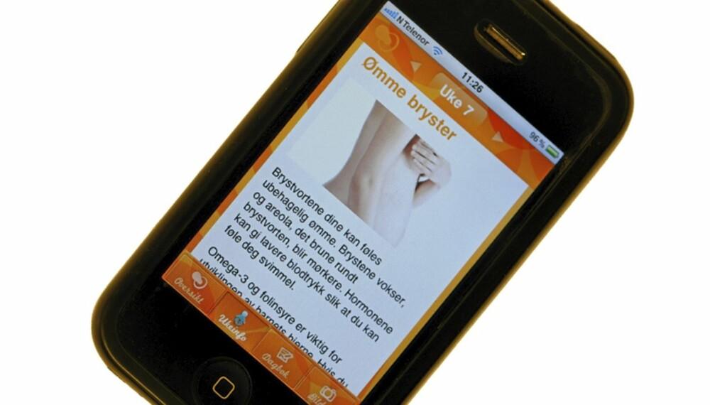 GRAVID PÅ MOBILEN: Med denne appen kan du enkelt følge på på graviditeten uke for uke.