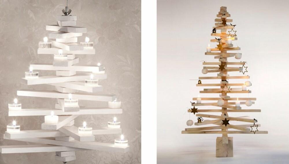 Treet til høyre koster 5000 kroner i norske interiørbutikker. Vi har laget treet til venstre selv for en hundrelapp.