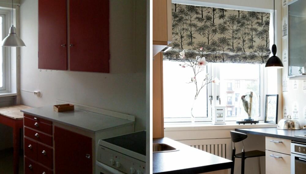 OPPGRADERT. Det lille kjøkkenet på åtte kvadratmeter hadde ulike benkehøyder og upraktisk skapplass. Det fikk moderne linjer og bedre plass uten å endre planløsningen.