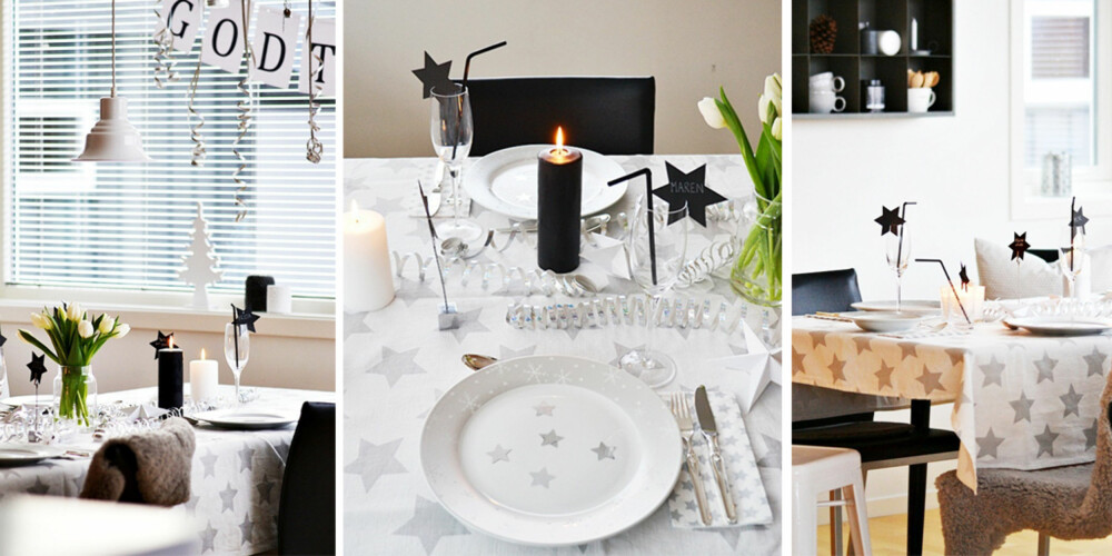 STJERNESMELL: Stjerner hører hjemme på nyttårsbordet. Det samme gjør fargene sølv og hvitt mener May Helen Kro.