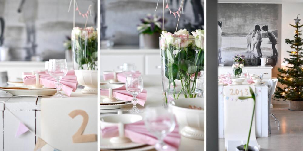 ROSA ROMANTIKK: Dette feminine festbordet er dekket av bloggeren Manuela Hardy med bloggen Mrs-hardy.com.