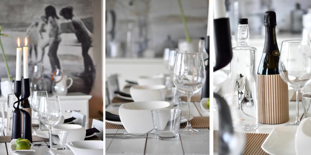 MODERNE: Bølgepapp blir en kul bordløper, og med innslag av sort blir dette nyttårsbordet både tøft og moderne.
