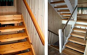 LYST: Ved å male gelenderet fremstår trappen lys og luftig. Den mørke håndlisten henter opp fargen fra trinnene og skaper en fin kontrast i trappen.