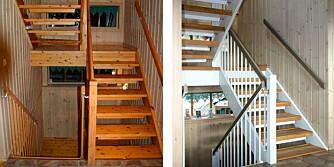 FØR OG ETTER: Den gamle furutrappen så mørk og sliten ut. Med trappefornyer og maling ble den som ny.