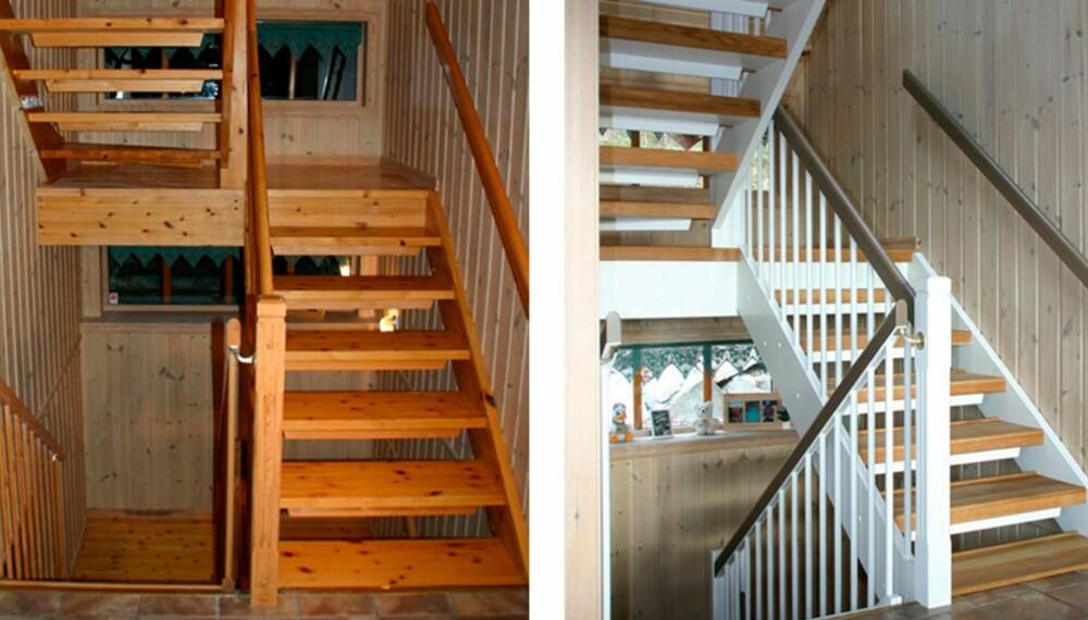 PUSSE OPP OG MALE TRAPP: Den gamle furutrappen så mørk og sliten ut. Med trappefornyer og maling ble den som ny.