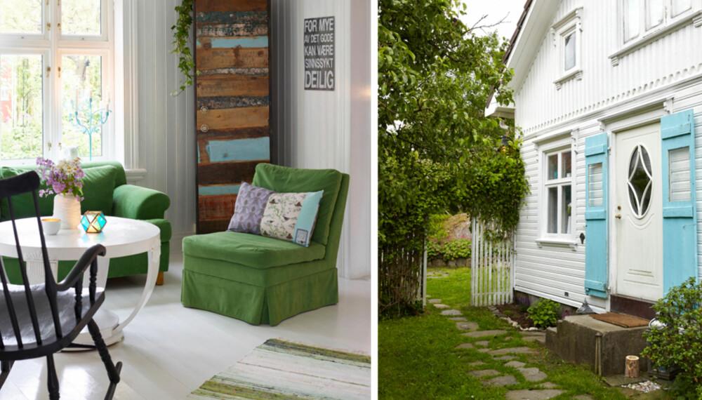 Velkommen inn! De blåmalte dørene er en søt kontrast til det hvite huset.