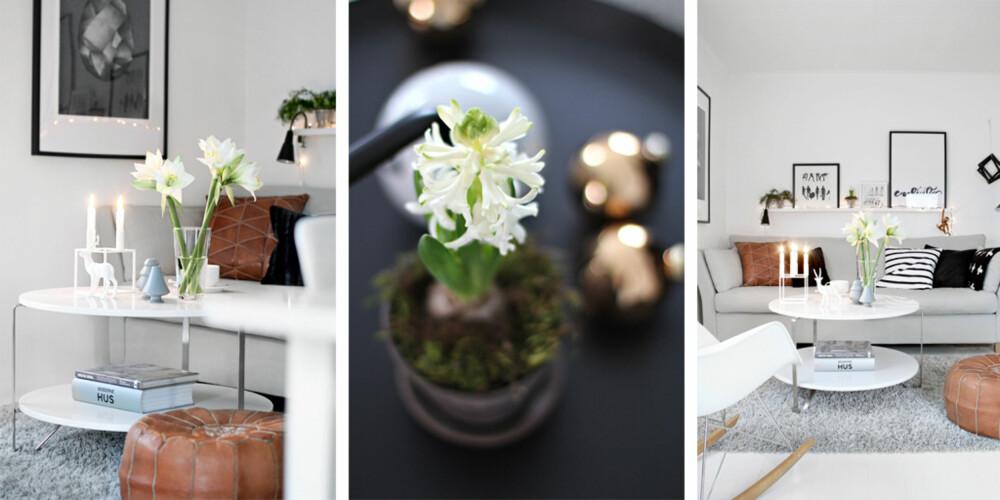 MED NATUR OG RO: Hjemme hos Nina er det naturtoner, lys og blomster som får råde i adventstiden.