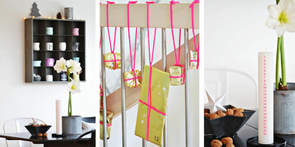 GULL OG ROSA: Hjemme hos Kronprinsessene har adventstiden fått spreke farger.