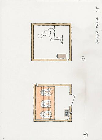 TYPISK PLAN: Her vises en typisk, liten familebadstue med innvendige mål 180 x 180 cm. Én sitteplass tilsvarer 60 cm. Tilluftsventilen plasseres rett under ovnen, mens luften trekkes ut øverst i det andre hjørnet. Avstand fra forkant nedre benk til ovn bør være minst 50 cm ¿ avhengig av ovnens konstruksjon.