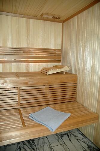 BADSTUBENKER: Benker til badstuen kan snekres selv, eller kjøpes ferdige f.eks. fra Tylø, som her med ryggstø og innebygget belysning.