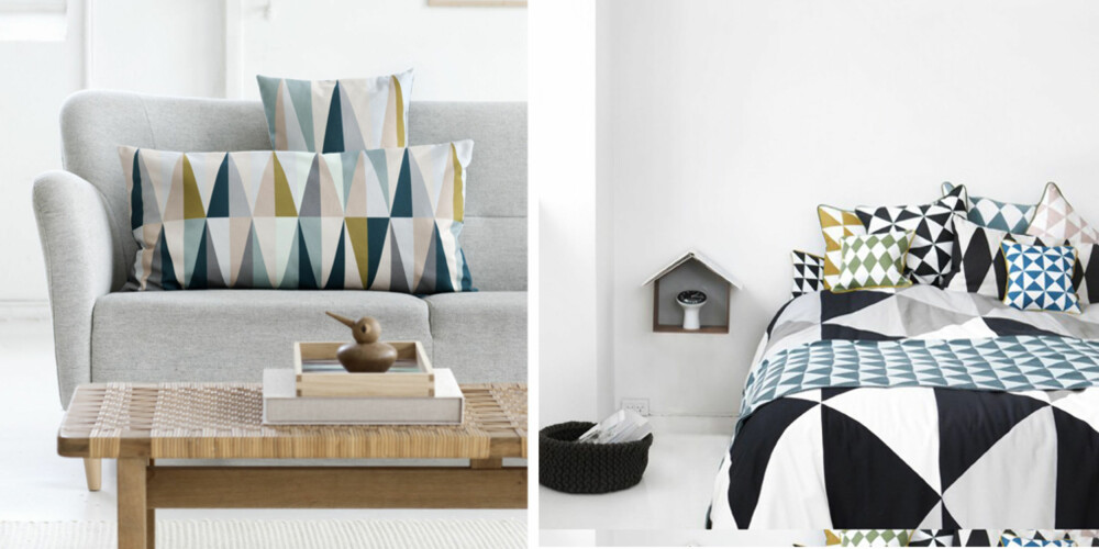 MØNSTER PÅ MOTE: Stramme grafiske mønstre er en snakkis på både tekstil- og tapetfronten i år.