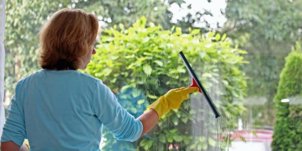 VINDUSVASK: Med sitronjuice blir vinduene skinnende blanke.