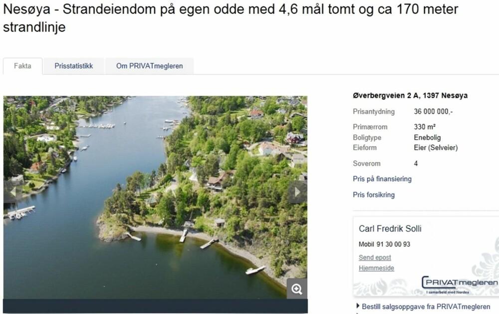 EGEN ODDE: Ved innseilingen til Halsbukta på Nesøya ligger denne eiendommen. Med stor solrik tomt på 4,6 mål, pluss en strandlinje på 174 meter, blir prisantydningen 37 millioner kroner.