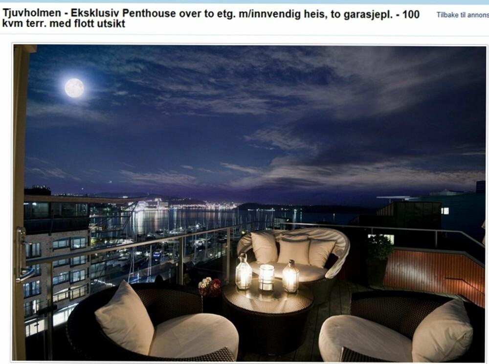 BOLETTE BRYGGE: Unik penthouse på 300 kvm over to plan i toppetasjene på Tjuvholmen med innvendig heis. Leiligheten har terrassearealer på 100 kvadratmeter og prisantydningen er på 37 millioner kroner.