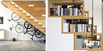 TENK NYTT: Det kan være et smart trekk å utnytte plassen under trappen til oppbevaring.