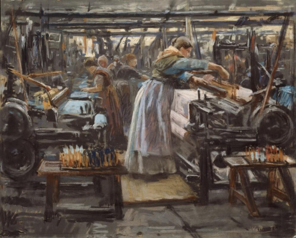 """LOT BARNA VÆRE HJEMME: Ettersom industrialiseringen skjøt fart på 1800-tallet, tok også mange kvinner fabrikkarbeid. Her er """"Fra Hjula Veveri"""", av Wilhelm Peters (1886)"""