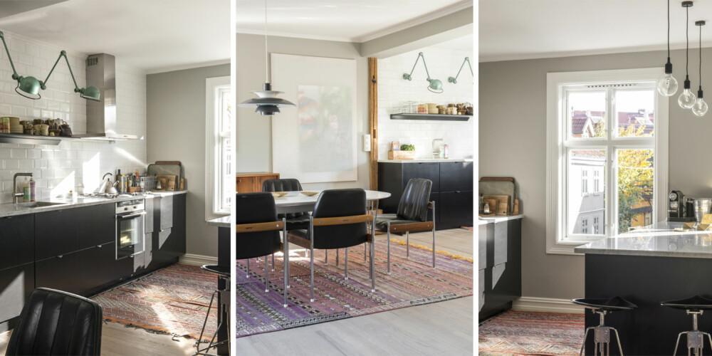LUFTIG LØSNING: Kjøkkeninnredningen består av skrog fra Ikea og fronter fra Superfront. Benkeplaten er i marmor, flisene heter Biselado og er fra Ceratec. Jielde-lampene er kjøpt brukt hos Fransk Bazar, og teppet er fra Marrakech. Veggen er malt i Antikkgrå fra Jotun.