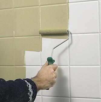 MALE FLISER: Flisene kan fornyes med maling om du er lei av fargen. Husk å rengjøre flisene godt på forhånd.