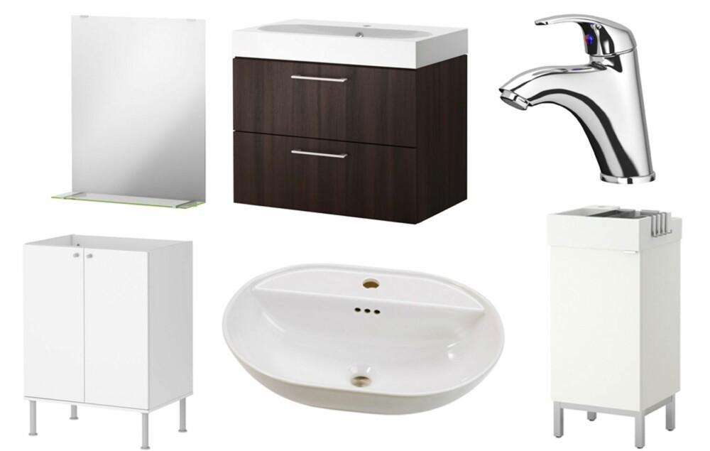 RIMELIG: På Ikea finnes det mange rimelige baderomsmøbler, servanter og blandebatteri.