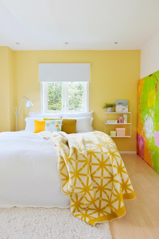ROM MED FUTT: Dette bildet sier det meste: Her bor det en dame som virkelig forstår seg på farger. Pleddet er fra Røros Tweed, den gule puten er fra Hay, og puten foran er hjemmelaget.