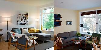 Til høyre ser du stuen med gule vegger, til venstre ser du resultatet etter at interiørdesigner Lisbeth Bjerch rykket inn for Bonytthjelpen. Sofa og stoler er de samme på begge bilder.