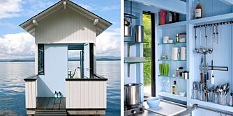 SOMMERIDYLL. Badehuset er på tolv kvadratmeter inkludert veranda. Oppholdsrom og veranda er nøyaktig like store eller små. Inne er hver millimeter utnyttet.