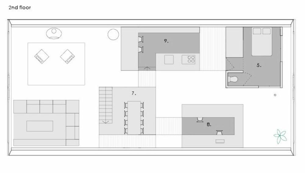 HUS I HUSET: Slik tegnet arkitektene inn de små husene som benyttes til private soner i leiligheten.