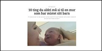 STERK: Marte Oline Siem-Pettersens kommentar om hva du ikke skal si til noen som har mistet barnet sitt ble årets mest leste på Kvinneguiden.