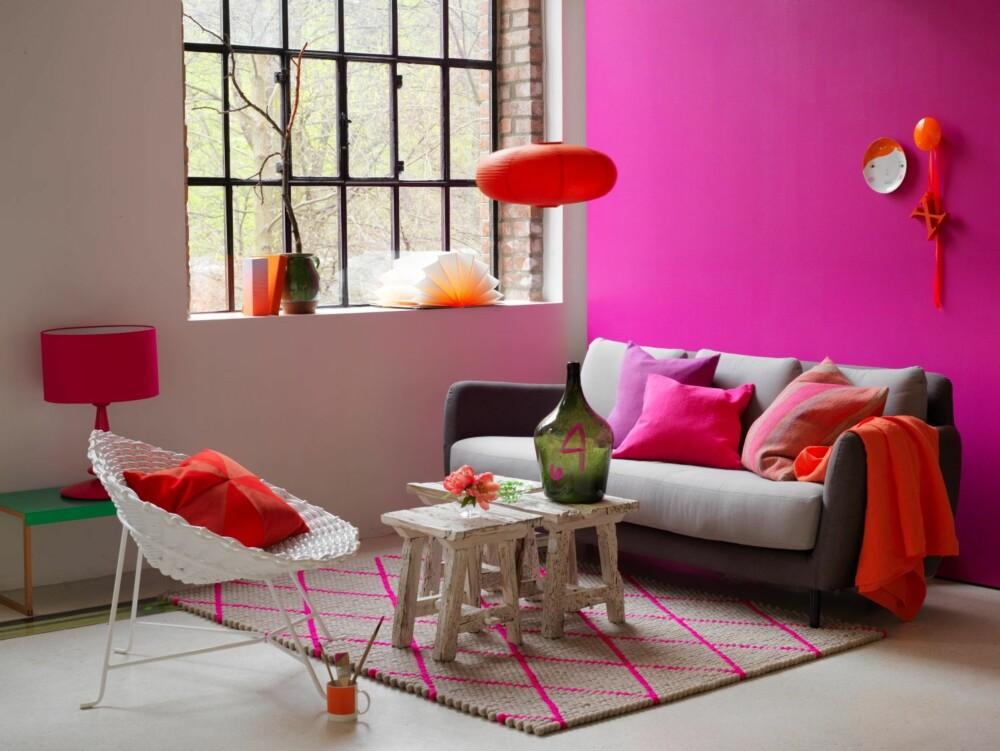 SPLITTET KOMPLEMENTÆR: Her er det skapt liv og røre med rosa, oransje og grønn.