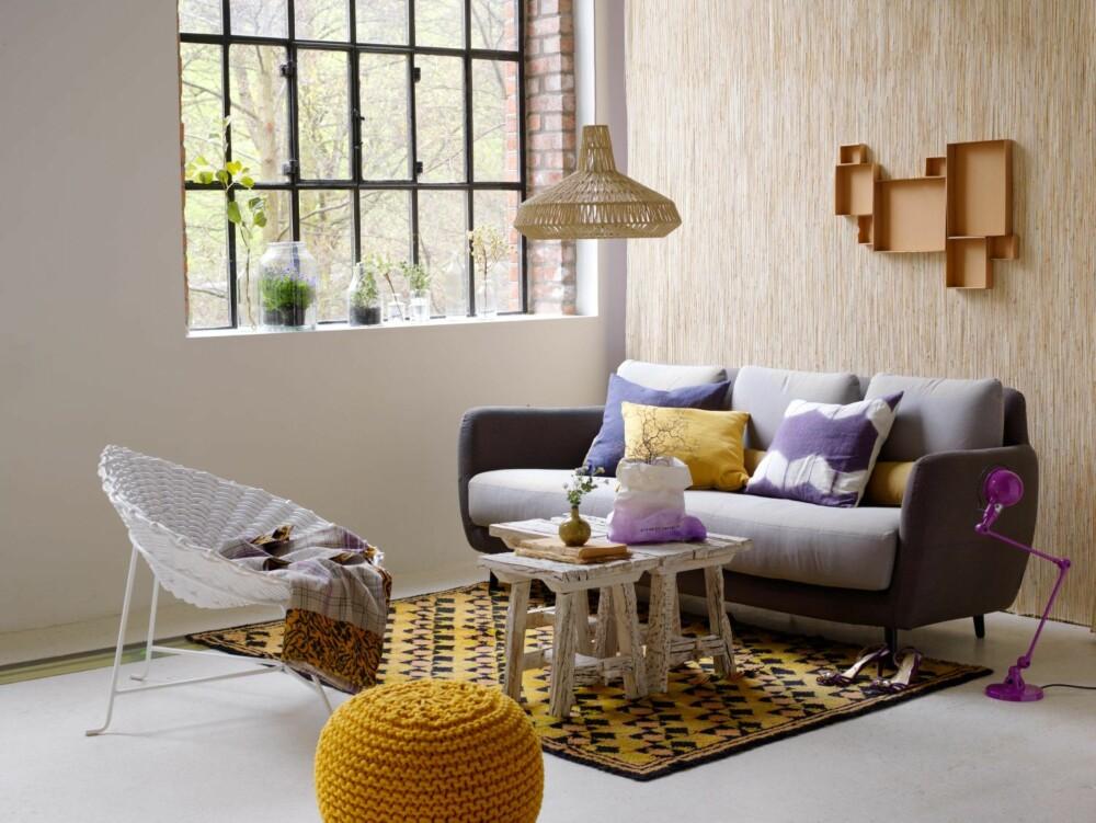 KOMPLEMENTÆRFARGER: Motstående farger i fargesirkelen gir størst kontrast og benyttes for å skape spenning. Her er det stylet med lilla og gult.