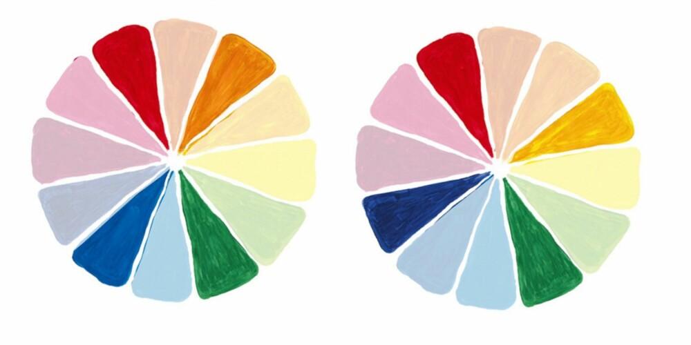 DOBBEL KOMPLEMENTÆR OG KVADRAT FARGESYSTEM: Disse måtene å kombinere farger på kan også gi et flott resultat.
