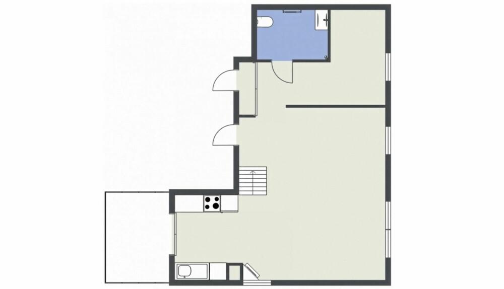ENDRET PLANLØSNINGEN: Beboerne slo sammen små rom til ett stort, og lot det være igjen et barnerom i enden. Soverommet er på hemsen.