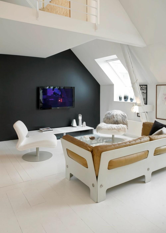 SKJULER FLATSKJERMEN: På grunn av den svartmalte bakveggen ruver ikke tv-skjermen i stuelandskapet. Stereobenken som skjuler komponenter og ledninger er hjemmelagd.