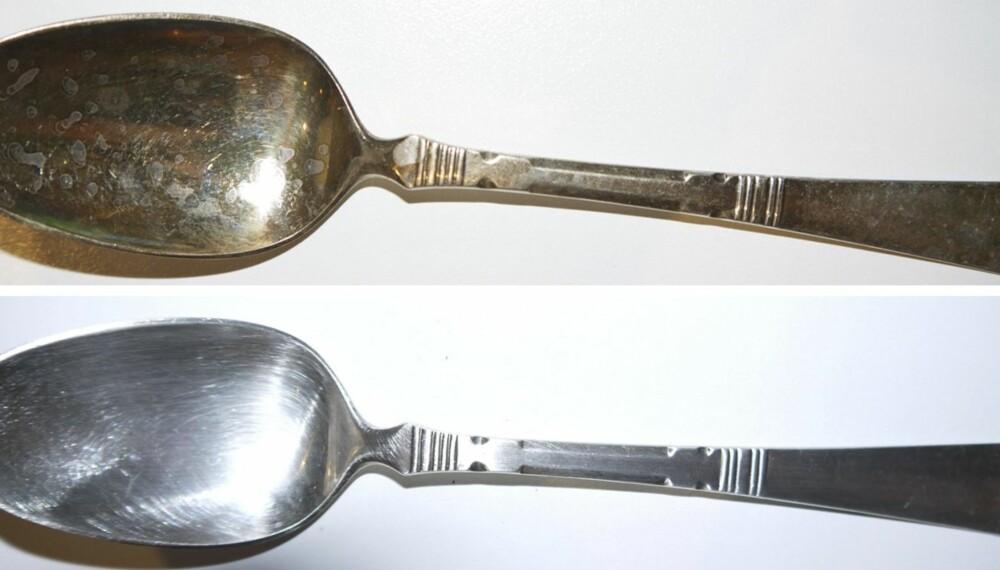 FORVANDLING: Sjekk hvor flott den gamle sølvskjeen ble etter en omgang i eddik- og zalovann.