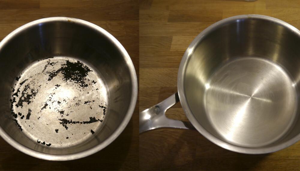 FØR OG ETTER: Matrester i gryten var fastbrent og tilsynelatende umulig å få ren. Etter å ha gitt den en behandling med eddik og natron ble den så god som ny.