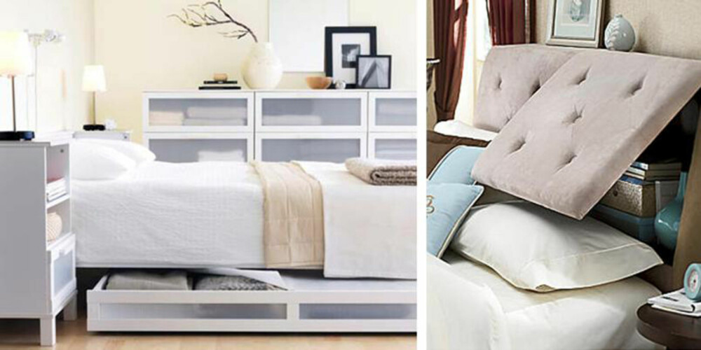 SKJULT OPPBEVARING: Smarte ideer til orden på soverommet.