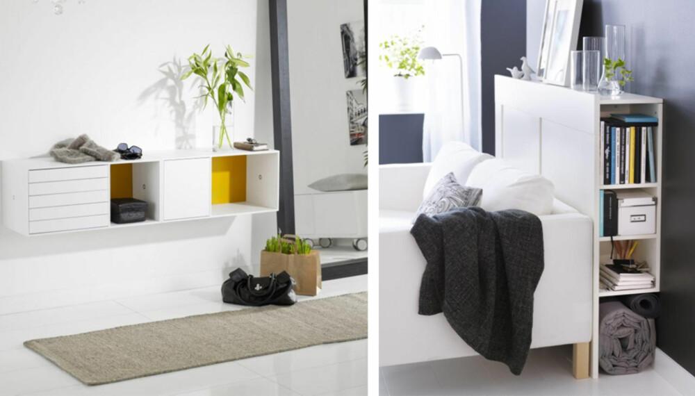 ALT PÅ PLASS: En nøkkel- og poststasjon i gangen gjør livet lettere. Det samme gjør smart oppbevaring på soverommet.