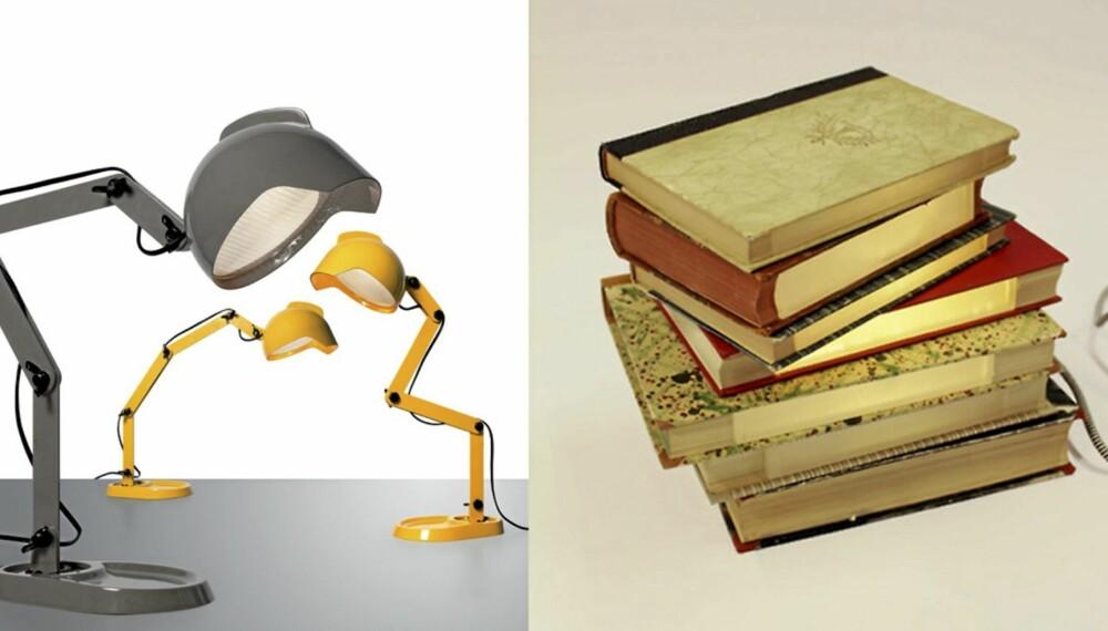 """BUKKENDE LESELYS. Duui er kule lamper fra Diesel &  Foscarinii. Den andre lampen """"Litterärt ljusverk"""" har svenske Henrik Georg Fredberg laget av gamle bøker, akrylglass og selvfølgelig lyspærer."""